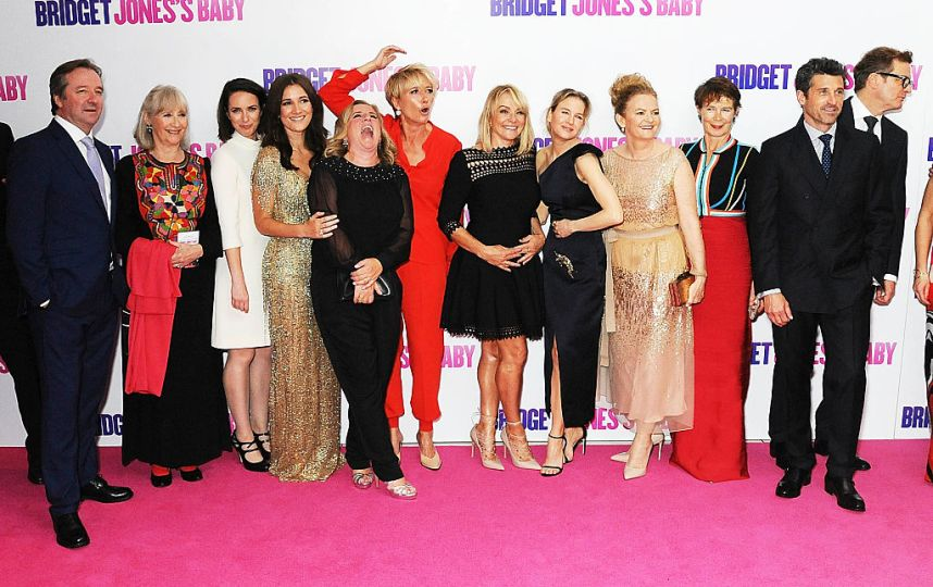 cast-and-crew-pose-for-a-photo-during-the-world-premiere-of-bridget-picture-id599522358