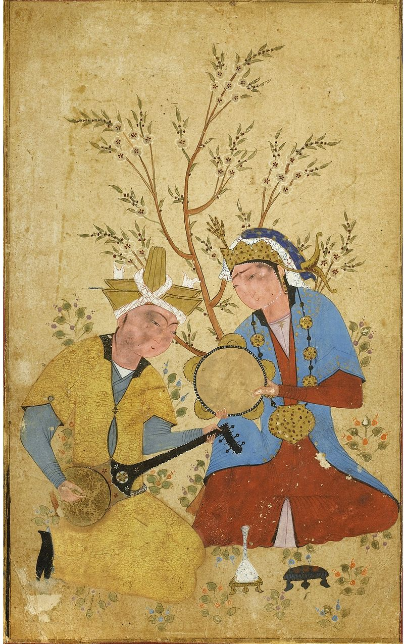 TWO_MUSICIANS_SEATED_UNDER_A_FLOWERING_TREE_c__1550,_Private_Collection,_USA_