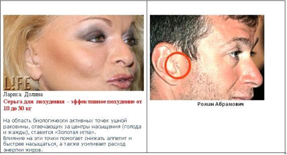 Точки на ушной раковине от похудения