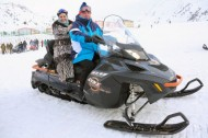 After the official part of the ceremony, the President and his family have ridden on snowmobiles and skis.