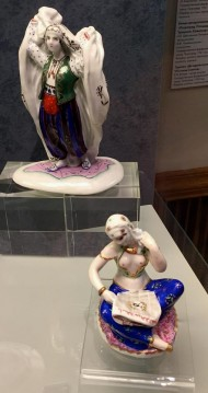 All works were made in the middle of the last century. Here are different figurines — a girl with cotton, with a basket, dancing girl.