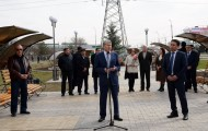 President Almazbek Atambbayev and First Lady Raisa Atambayeva took part in the ceremony of planting trees on the Tulip revolution memorial square in Bishkek on March 24.<br />