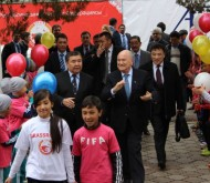 FIFA President Joseph Blatter attended the opening ceremony of the football field in Bishkek on March 25.