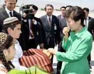 President of South Korea Park Geun-hye arrived in Ashgabat on 20 June 2014 in the framework of the official visit to the three Central Asian states.