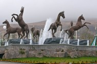 """<i>Monument in Akhal province</i><br /> <br /> Turkmenistan has a separate agency, Turkmen Atlary, responsible for the breeding, training and maintenance of Akhal-Tekes. There is also a horse racing organization called """"Galkinysh"""" and an Akhal-Teke equestrian complex in Ashgabat. Turkmen Horse Day is celebrated on the last Sunday in April."""