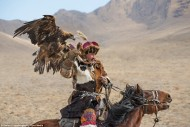 Racing through the mountain range on horseback, the Kazakh people practice their ancient tradition of hunting with golden eagles.<br />
