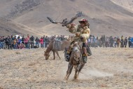 The Golden Eagle festival is held every October in Bayan-Olgii, a province in western Mongolia.