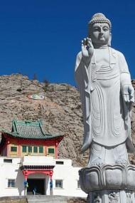 Statue of Buddha at sacred mountain of Tsetserleg Zayin Horee