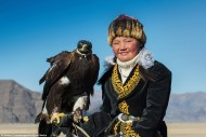The 38-year-old, of Belgium, said: 'The world is evolving fast, but these Kazakh people still practice the ancient art of training and hunting with golden eagles, and they do it with a lot of passion.