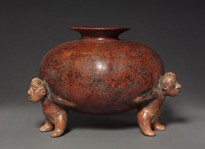 Vessel with Crested Atlantean (Supporting) FIgures, 200 BC-300 West Mexico,