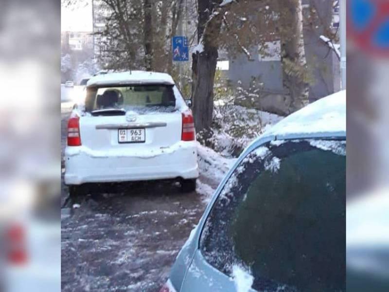 Автомобиль Toyota Wish припаркован под знаком «Остановка запрещена»