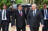 Presidents of Tajikistan and Belarus Emomali Rahmon and Alexander Lukashenko visited the sightseeing in Varzob district of Tajikistan. <br />