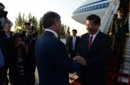 The official delegation of China was greeted by President Almazbek Atambaev, government members, National Guard.