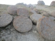 Unusual round-shape stones can be found on at the As-Kazan pasture in eastern part of Kosh-Dobo rural municipality, Ak-Tala district, Naryn region.