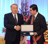 President of Kazakhstan Nursultan Nazarbayev awarded the President of Turkmenistan Gurbanguly Berdimuhamedov with the state order of friendship - the Dostyk Order of the 1st Degree.