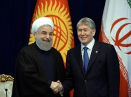 President of Kyrgyzstan Almazbek Atambayev today received Iranian President Hassan Rouhani in Ala-Archa State Residence.<br />