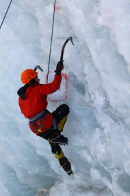 Ice climbing is the activity of ascending inclined ice formations. Usually, ice climbing refers to roped and protected climbing of features such as icefalls, frozen waterfalls, and cliffs and rock slabs covered with ice refrozen from flows of water.