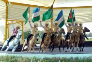 The two Presidents in the Akhalteke horse complex saw a demonstration of the elite horses, the best akhalteke breed of Turkmenistan.
