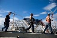 Construction of Fisht Olympic Stadium in Sochi, 2013<br />