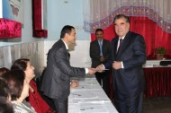Rahmon is one of six candidates for the presidency in the elections held today in Tajikistan. He is the only candidate from the ruling People's Democratic Party, the Youth Union and the Federation of Independent Trade Unions of Tajikistan.<br />