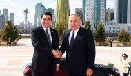 President of Kazakhstan Nursultan Nazarbayev and President of Turkmenistan Gurbanguly Berdimuhamedov on April 18 met in Astana for a private meeting and a meeting with the participation of the delegations.