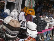 There is a wide range of white <i>kalpaks</i>, high-crowned caps made of felt and worn by men; shoes and slippers made of felt by hand. These items are especially popular among the foreigners as they're small and easy to transport.