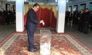 The President voted at polling station №15 of election district №2 of Ismoili Somoni district.