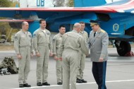 Viktor Sevostyanov, the head the Russian Second Air Force and Air Defense Command, and Su-27 pilots: