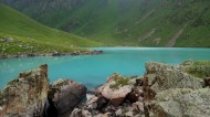 Kol Tor Lake is a popular tourist destination in Kyrgyzstan.<br />