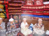 The bride's parents usually conduct a dowry-show before the wedding. Usually, they install a yurt which would feature the handmade dowry items.