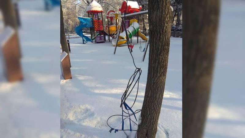 На бульваре Эркиндик на дереве висит оборванный электропровод. Фото