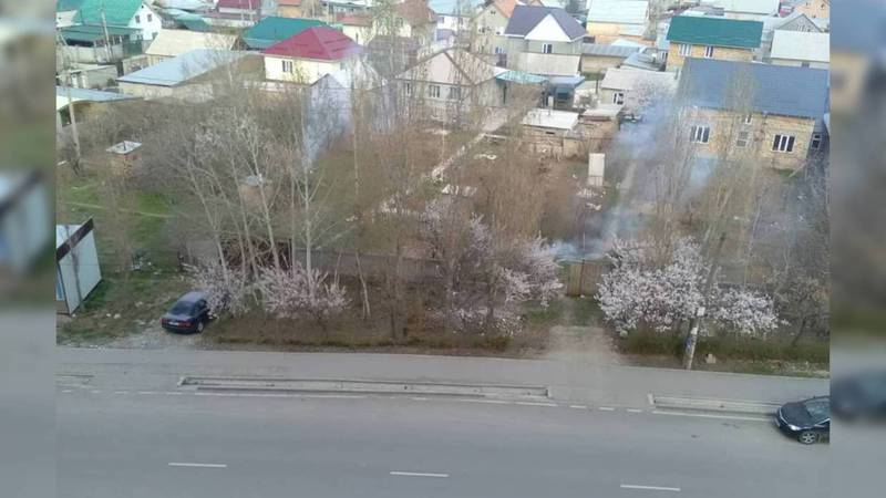 В Бишкеке на улице Молдокулова сжигают листья