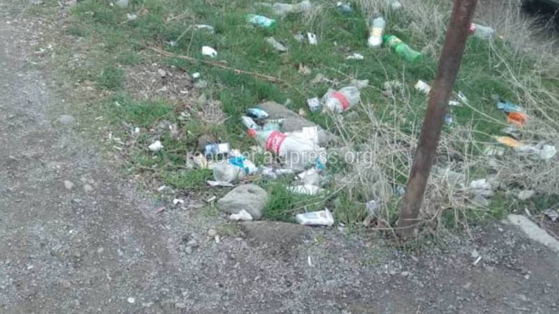 На границе с Казахстаном перед КПП Ак-Жол разбросан мусор, - бишкекчанин (фото)