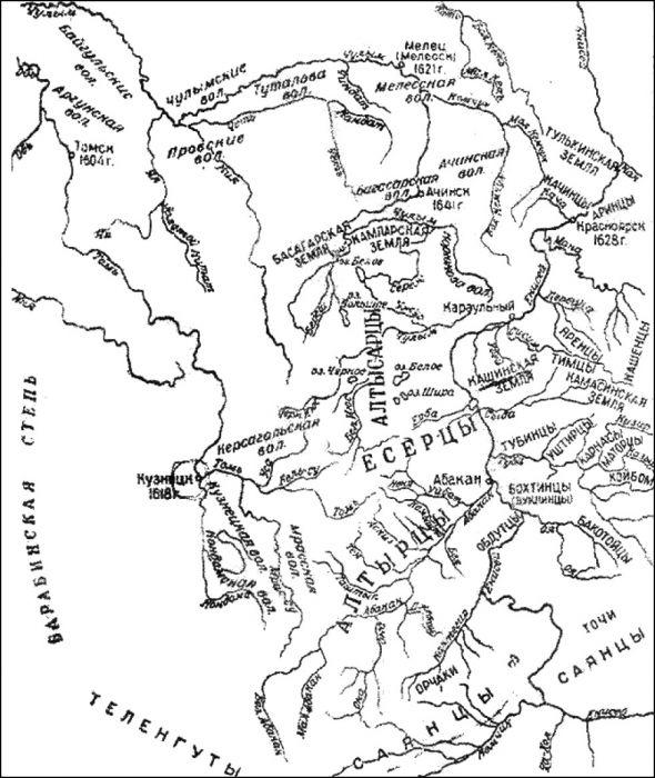 Карта-схема расположения улусов енисейских киргизов в XVII в.